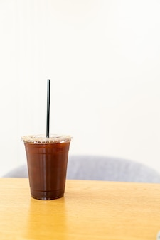 Iced americano koffie in café-restaurant