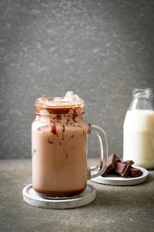 Iced chocolate milkshake drink