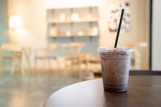 Iced chocolate milkshake in coffeeshop café