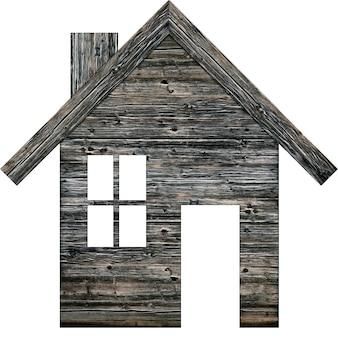 Icoon van een houten huis op een witte achtergrond