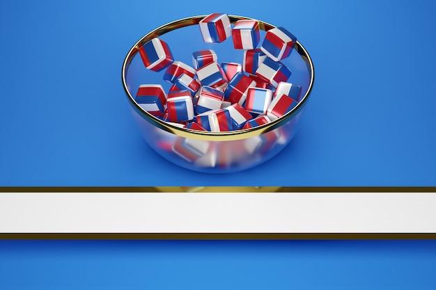 Icubes met de afbeelding van de nationale vlag van rusland