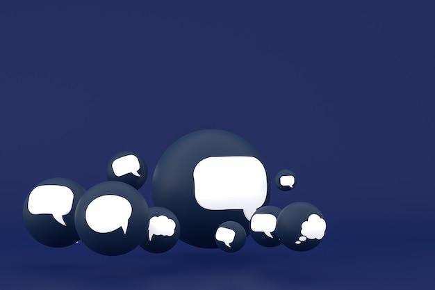 Idee commentaar of denk reacties emoji 3d render, social media ballon symbool met commentaar iconen