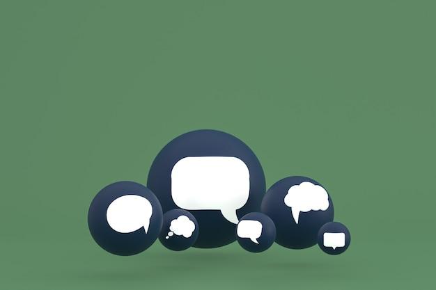 Idee commentaar of denk reacties emoji 3d render, social media ballonsymbool met commentaar pictogrammen patroon