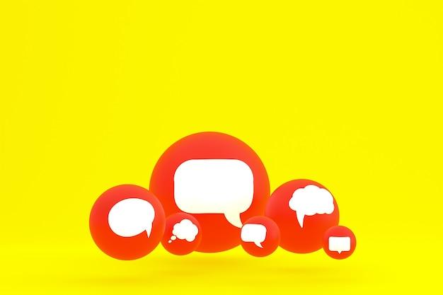 Idee commentaar of denk reacties emoji 3d render, sociale media ballon symbool met commentaar pictogrammen patroon achtergrond