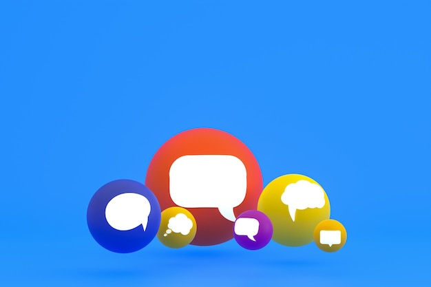 Idee commentaar of denk reacties emoji 3d render, sociale media ballonsymbool met commentaar pictogrammen patroon achtergrond