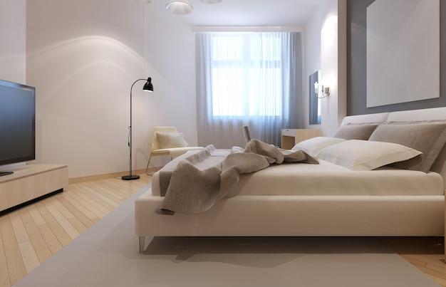 Idee van een art deco-slaapkamer in witte kleur met lichte bisque-meubels en vloeren