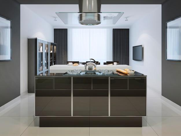 Idee van keukeneiland bij moderne keuken en multifunctioneel werkblad in zwart-wit.