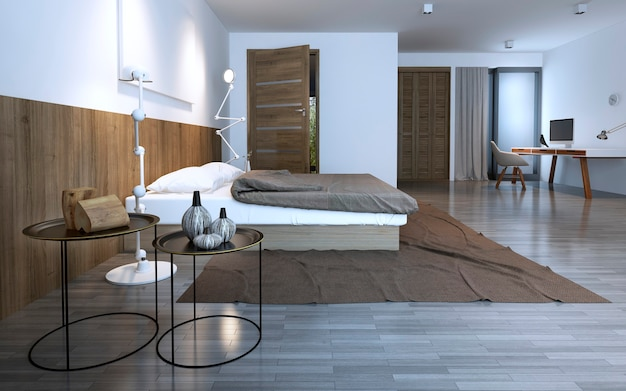 Idee van minimalistische slaapkamer in woonhuis. ongebruikelijke ronde koffietafels, bruin thema. 3d render