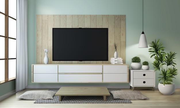 Idee van model op kabinet houten op de moderne japanse stijl van de zenruimte