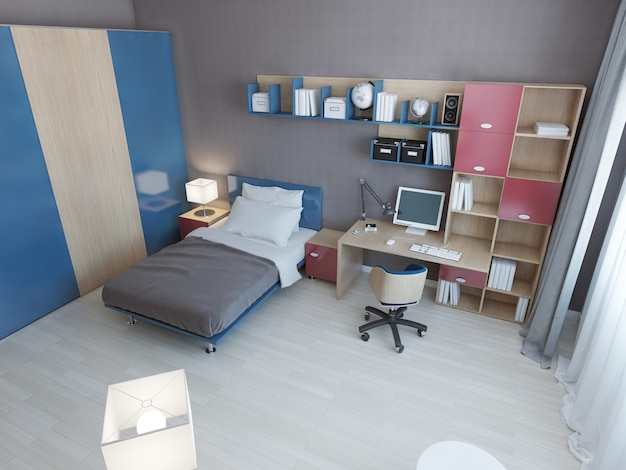 Idee van moderne kinderkamer met veelkleurig meubilair in blauwe en rode kleuren en een eenpersoonsbed en een werkruimte en een grote kast.