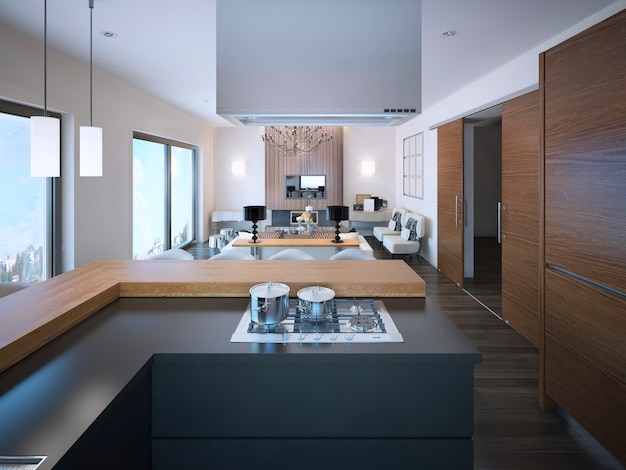 Idee van studio-appartementen in bruine en witte kleuren en grijs gekleurde l-vormige kasten van moderne keuken.