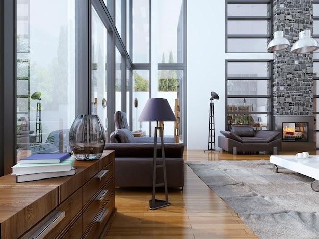 Idee van woonkamer met ramen en hoog plafond met open haard.