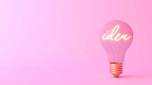 Idee woord schijnt in een gloeilamp
