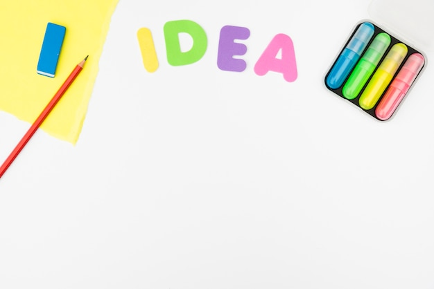 Ideetekst en ambachtproducten op witte achtergrond worden geïsoleerd die