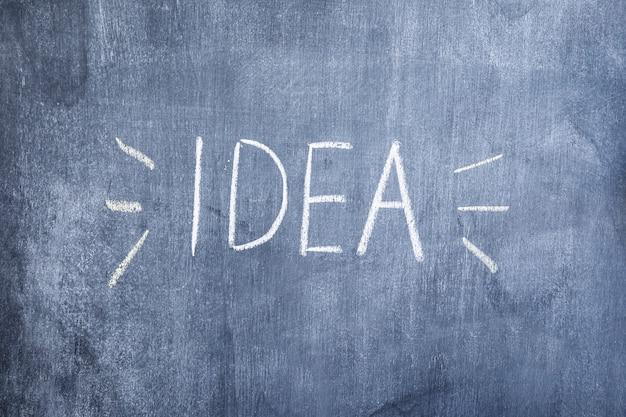 Ideetekst met krijt op bord wordt geschreven dat