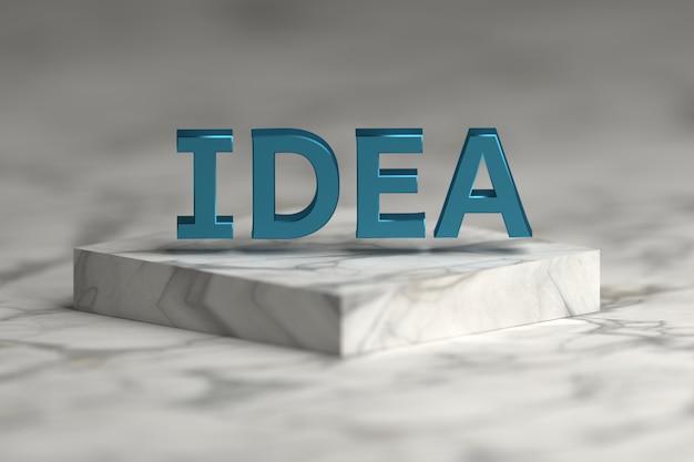 Ideewoord met blauwe glanzende metaaltextuur over voetstukpodium dat van marmer wordt gemaakt.