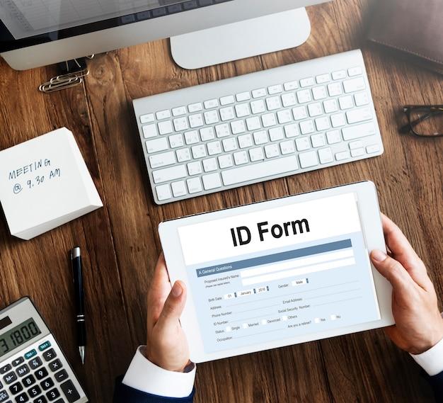 Identificatieformulier id belastingbetaler document concept