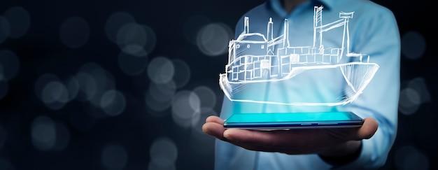Iemands handen met holografisch schip op een smartphone