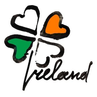 Ierland. ierse klavertje vier met kleuren van de vlag van ierland en belettering op witte achtergrond