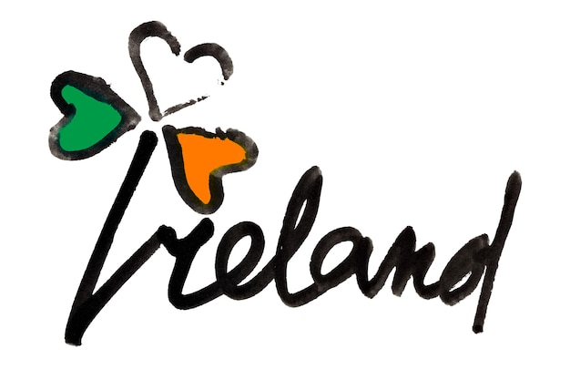 Ierland. ierse klavertje vier met kleuren van de vlag van ierland en belettering - rasterillustratie