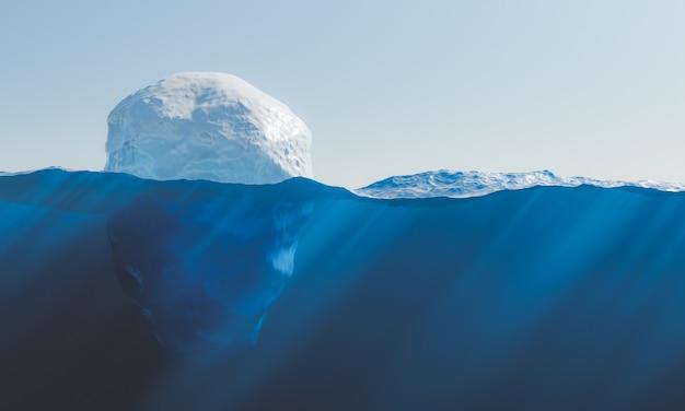 Ijsberg drijvend in de zee met uitzicht op de zeebodem met bijtende stoffen. concept van milieu, smelten van ijs en opwarming van de aarde. 3d-rendering