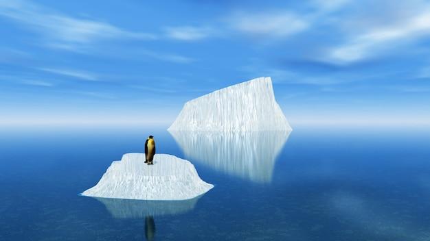 Ijsbergen met een pinguïn