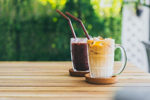 Ijskoffie met ijschocolade