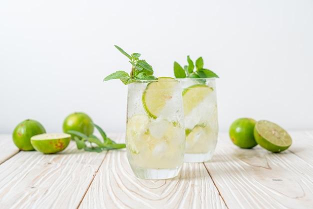 Ijskoude limoensoda met munt. verfrissend drankje