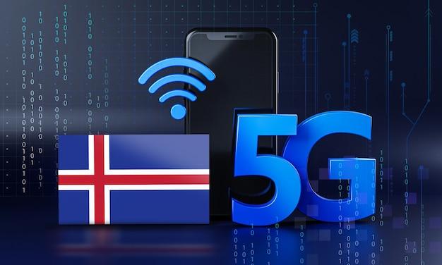 Ijsland klaar voor 5g-verbindingsconcept. 3d-rendering smartphone technische achtergrond
