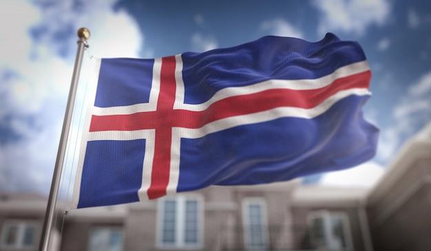 Ijsland vlag 3d-rendering op de blauwe hemel gebouw achtergrond