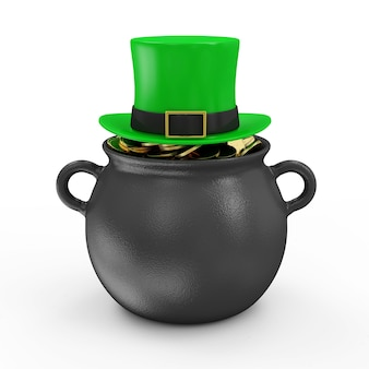 Ijzeren pot met gouden munten en groene kabouterhoed voor traditionele ierse vakantie st patricks day