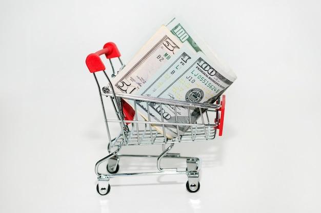 Ijzeren winkelmandje met geld. dollars zijn in de winkelwagen