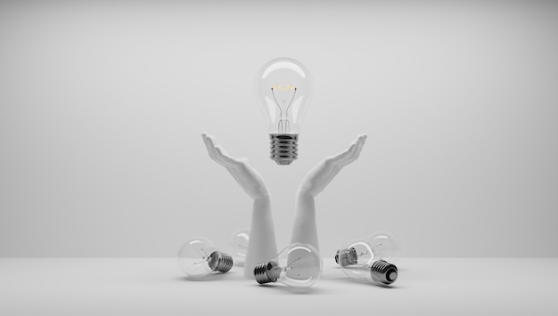 Ik heb een idee en dat wil ik beschermen. een idee patenteren. eureka, ik heb een idee. gloeilampsymbool gerelateerd aan een idee. de gloeilamp ging aan. witte achtergrond.