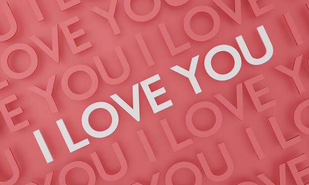 Ik hou van je, tekst verschijnt op rode muurachtergrond