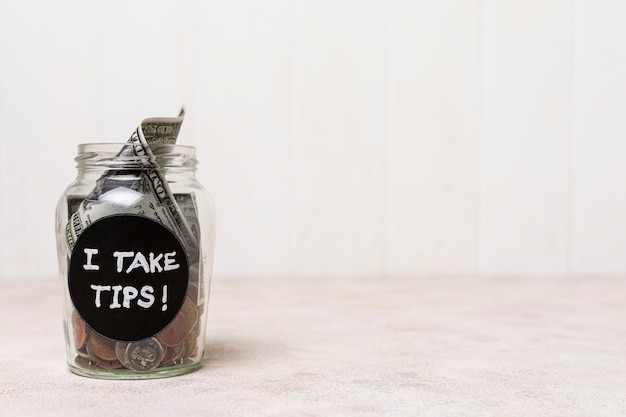 Ik neem tips glas met kopie ruimte achtergrond