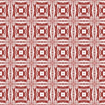 Ikat herhalend badmodeontwerp. kastanjebruine symmetrische caleidoscoopachtergrond. textiel klaar gedenkwaardige print, badmode stof, behang, verpakking. zomer ikat badmode patroon.