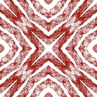 Ikat herhalend badmodeontwerp. wijn rode symmetrische caleidoscoop achtergrond. textiel klaar glamoureuze print, badmode stof, behang, inwikkeling. zomer ikat badmode patroon.