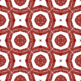 Ikat herhalend badmodeontwerp. wijn rode symmetrische caleidoscoop achtergrond. zomer ikat badmode patroon. textiel klaar artistieke print, badmode stof, behang, inwikkeling.