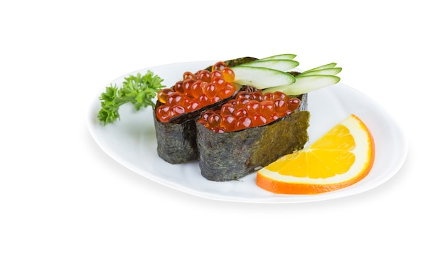 Ikura sushi, ikura met zeewier (nori), japanse keuken