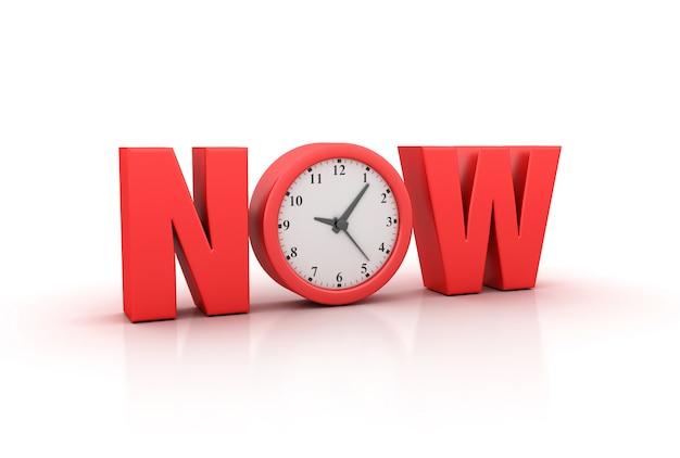 Illustation van now word met klok weergeven
