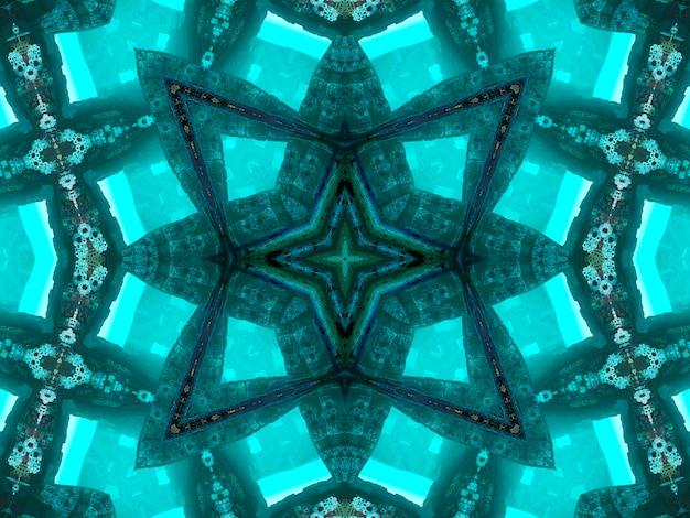 Illustratie abstract caleidoscopisch patroon in jade kleur afkomstig van foto van groene bamboe bladeren ontworpen voor tegels, behang, textiel of sjaals
