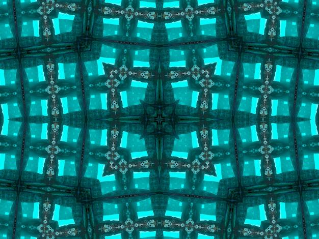 Illustratie abstract caleidoscopisch patroon in jade kleur is ontstaan uit foto van groene bamboe bladeren ontworpen voor tegels, behang, textiel of sjaals.