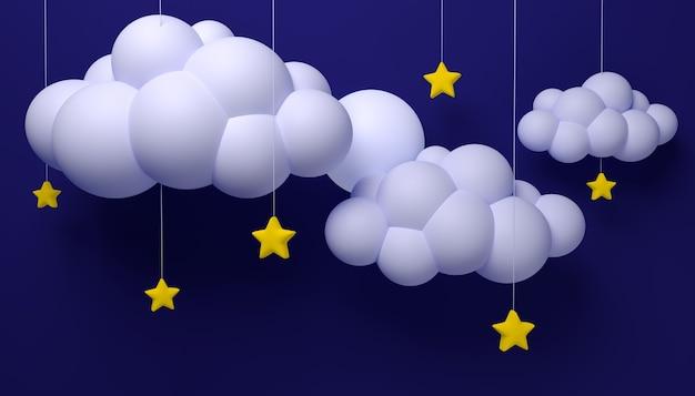 Illustratie cartoon kinderachtige achtergrond met wolken en sterren aan touwtjes