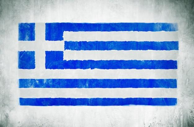 Illustratie en schilderij van de nationale vlag van griekenland