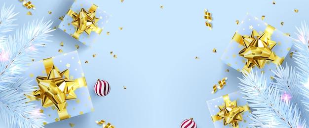 Illustratie feestelijke achtergrond met nieuwjaar en merry christmas banner met geschenken