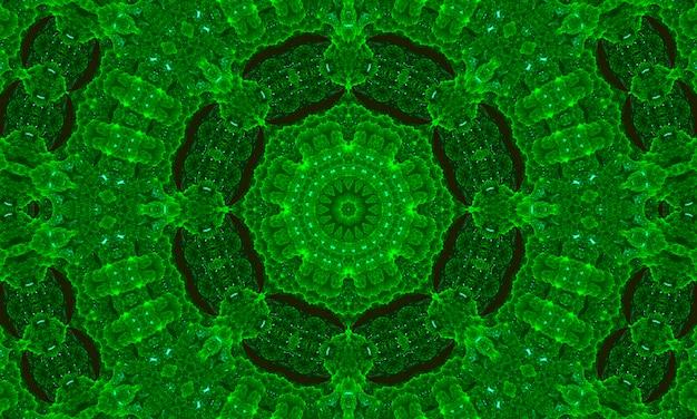Illustratie fisheye groen abstracte caleidoscoop achtergrond. multicolor geometrische caleidoscoop achtergrond. kleurrijke caleidoscooptextuur. decoratief caleidoscopisch ornament. kleurrijke sieraad achtergrond.