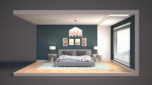 Illustratie interieur van de slaapkamer in een doos