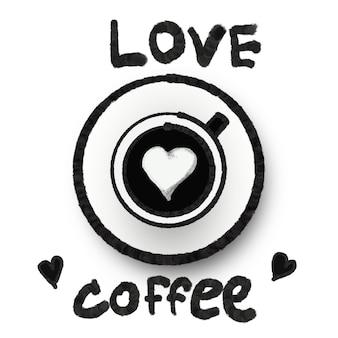 Illustratie kunst liefde koffie foto en logo ontwerp decoratief teken en symbool concept, patroon op stof concept