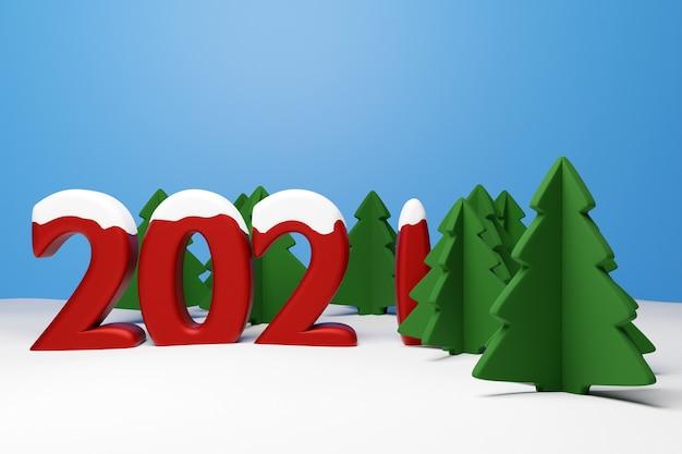 Illustratie naaldbomen in een bos van de winter met grote sneeuwlaag kerstboom