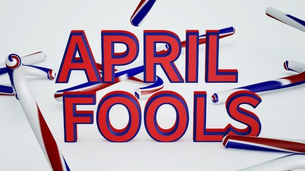 Illustratie van abstracte achtergrond april fools day. 3d-weergave